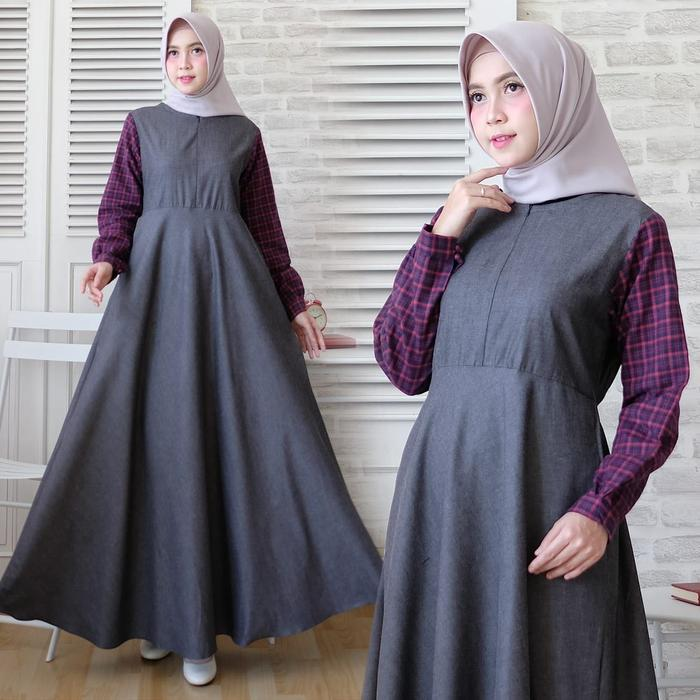 maxi dress gamis denim grey gamis soft jeans baju muslim gamis flanel