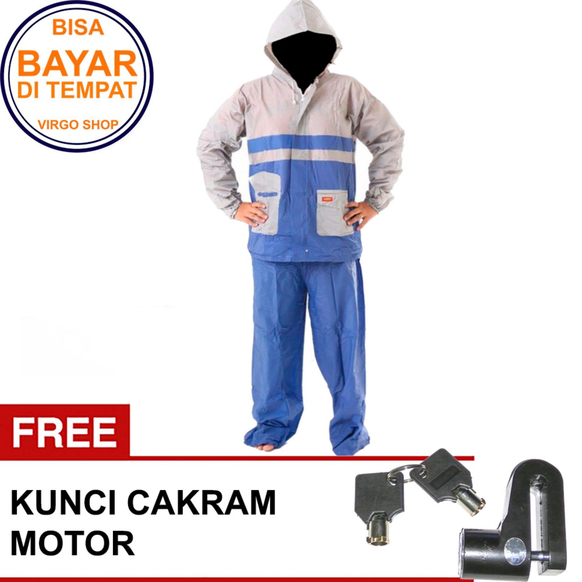 Termurah Elmondo Jas Hujan Setelan Baju Celana - New Kombinasi Tipe 905 Biru Bonus Kunci Disk Pendek