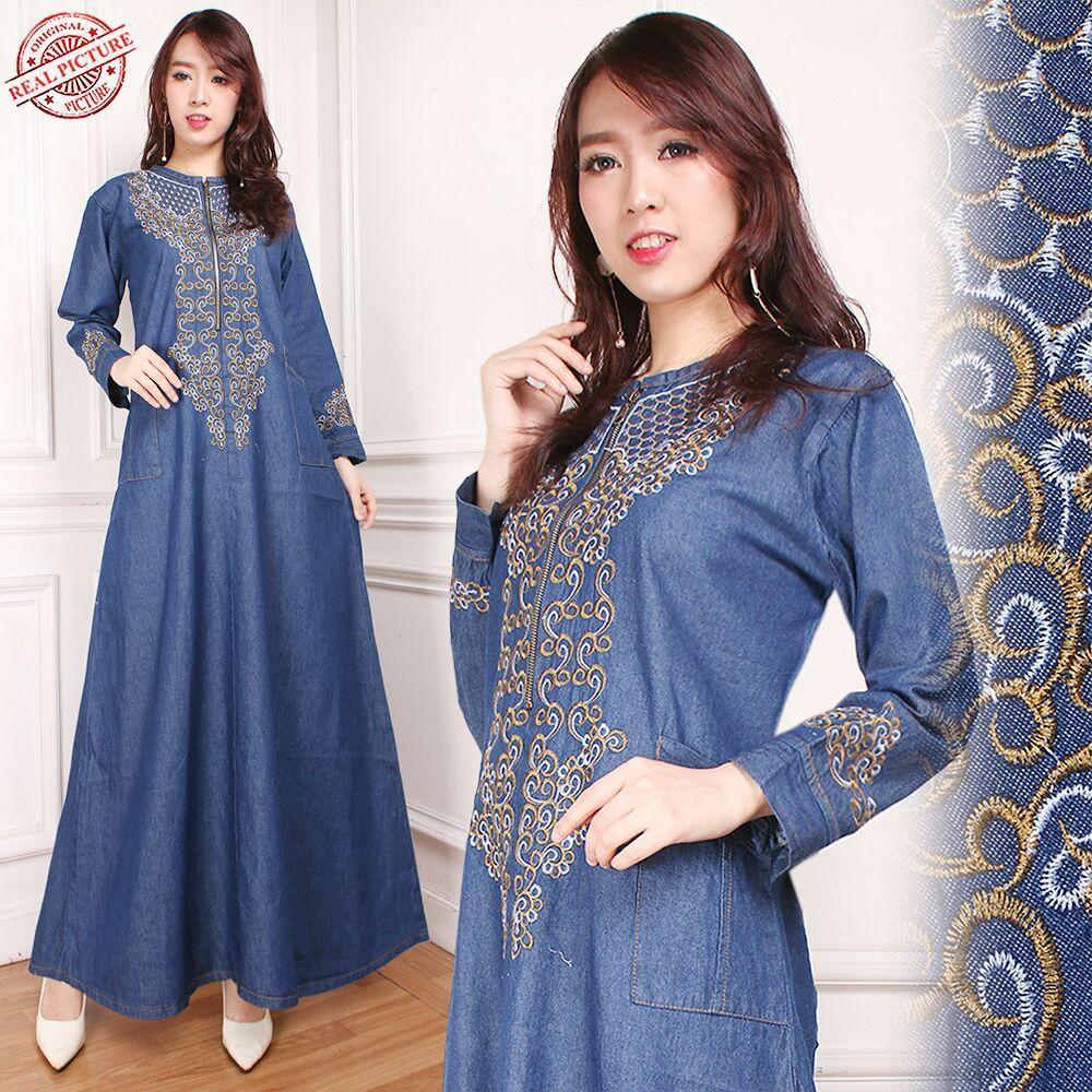 Miracle Gamis Maxi Khansa Long Dress Jeans Wanita