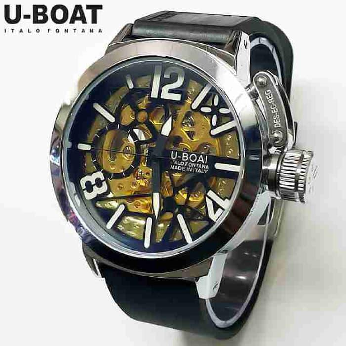 Best Seller!! Jam Tangan Pria U-Boat Skeleton Ub1 Rubber Black Silver Automatic - ready stock