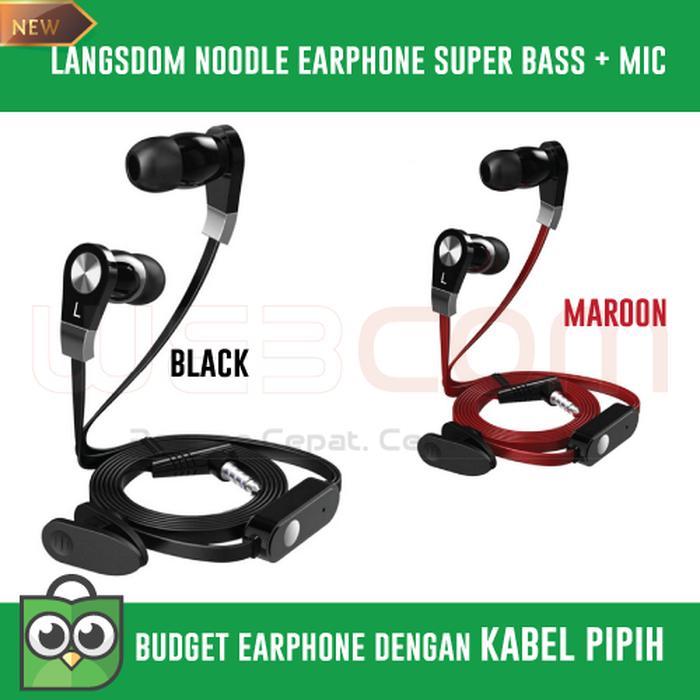 Earphone Langsdom Millet Piston Super Bass Kabel Noodle Pipih Murah - ready
