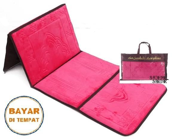[PINK] 1 Sajadah Sandar Asli Surabaya 100% High Quality Sajadah Lipat Portable Beludru