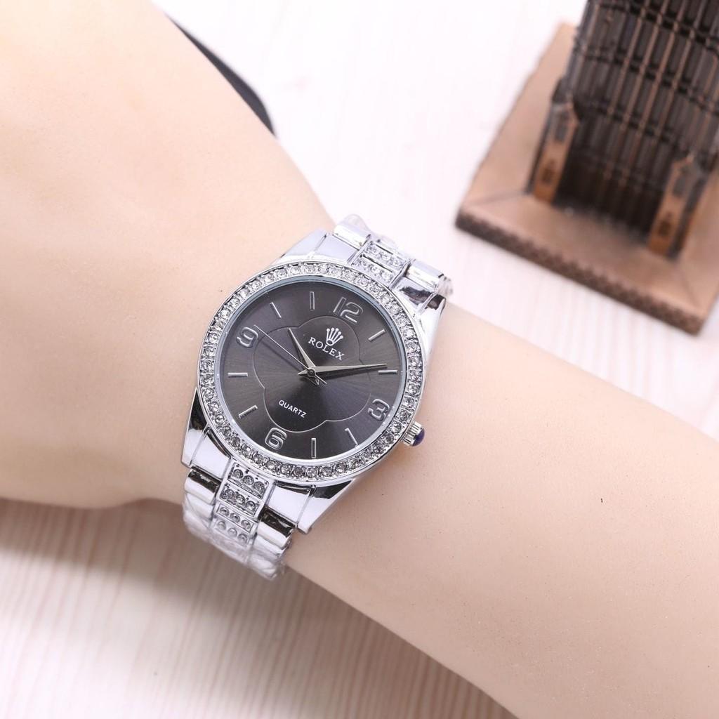 Jam Tangan Wanita / Cewek Rolex Sara Rantai Silver Black