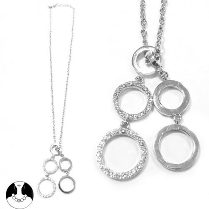 Kalung Rantai Rhodium Liontin 6-Lingkaran Bertabur Kristal DAS-00002-J