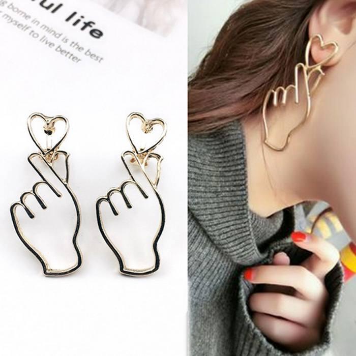 Anting Korea Simple Heart Shaped Earrings Ear Clip (No Needle) JU1110