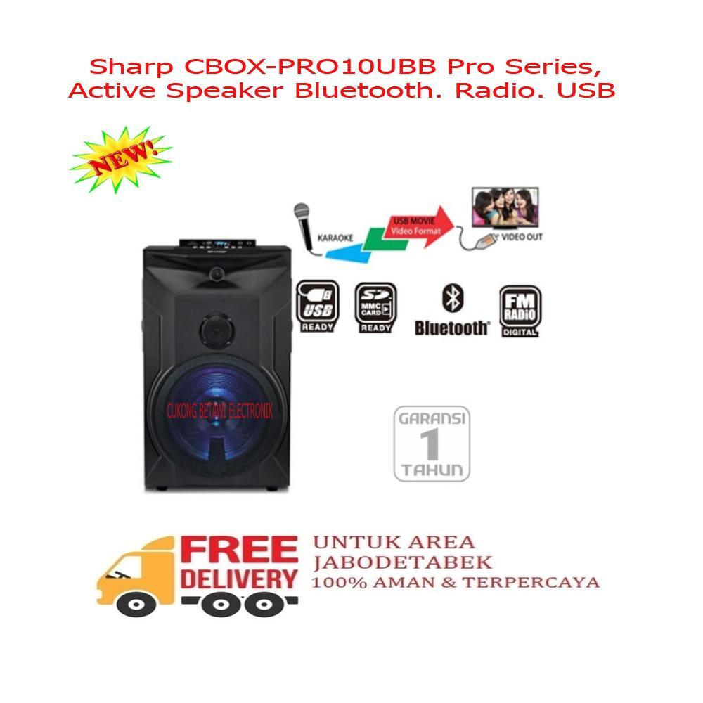 Sharp CBOX-PRO10UBB Pro Series Active Speaker Bluetooth Radio USB-Resmi-KHUSUS JABODETABEK
