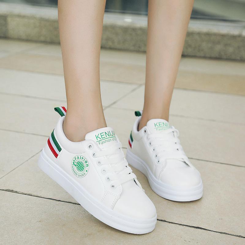 Dewi Sepatu Trendi Kasual SMP Kets Putih Korea Modis Gaya Perempuan (Putih atau Hijau)