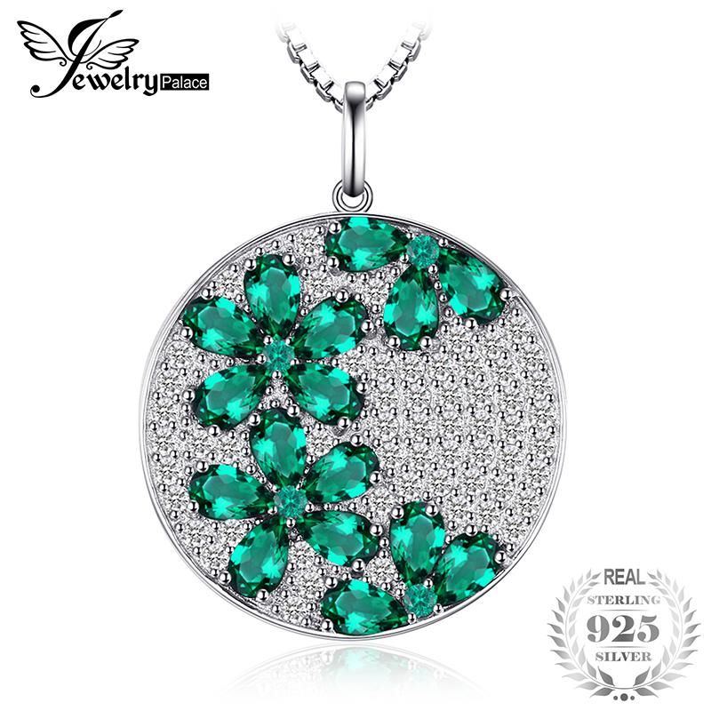 JewelryPalace Fashion 2.7ct Simulated Nano Russian Emerald Pendant 925 Sterling Silver Not Include A Chain