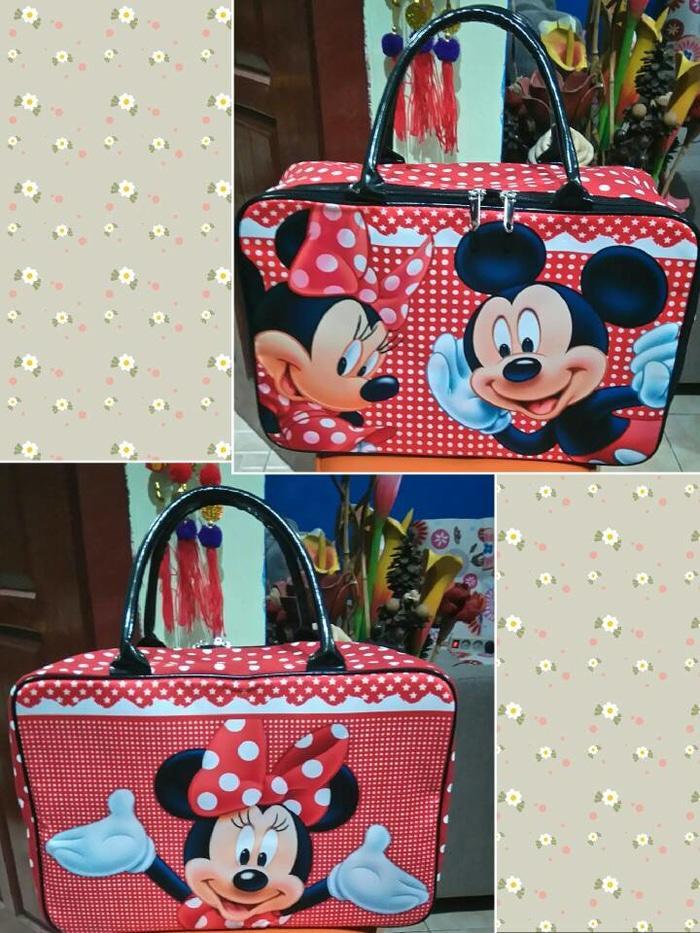BGC Travel Bag Kanvas Minnie Mouse Jumbo Black Pink Source Travel Bag Kanvas .