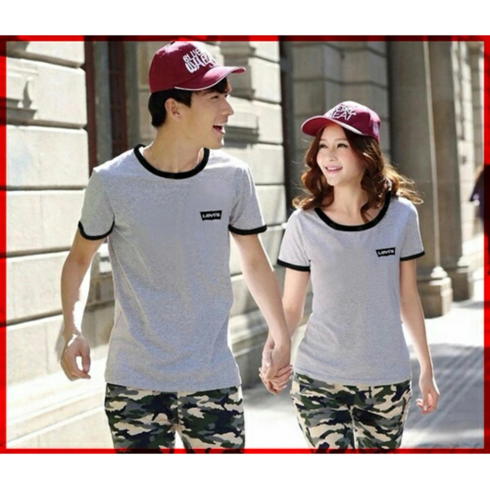 JC - Kaos Couple LVS  Model Terbaru / Tshit Couple / Baju Pasangan