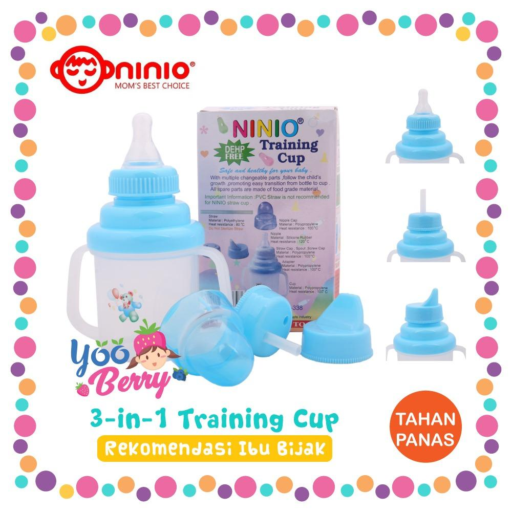 YooBerry Ninio 3-in-1 Training Cup Gelas Minum Bayi Spout Straw Nursing Cup