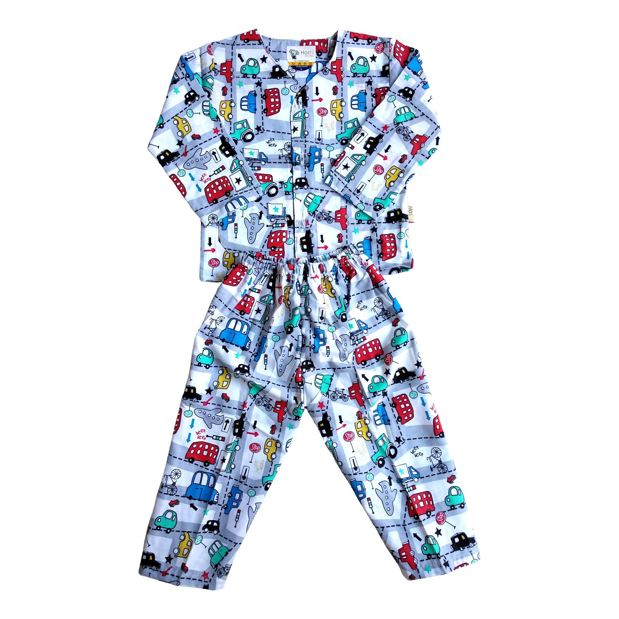 Fio Online - Hoshi - Piyama - Baju Tidur Setelan - Usia 6 sampai 12 bulan - motif Transport Mobil