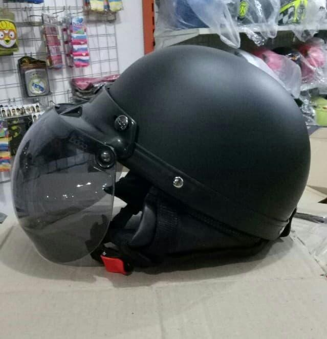 Helm Chips Retro Bogo Vespa Hitam Dof Dop Polos || helm kyt / helm bogo / helm full face / helm ink / helm sepeda /helm motor/helm nhk/helm retro/helm anak/helm gm