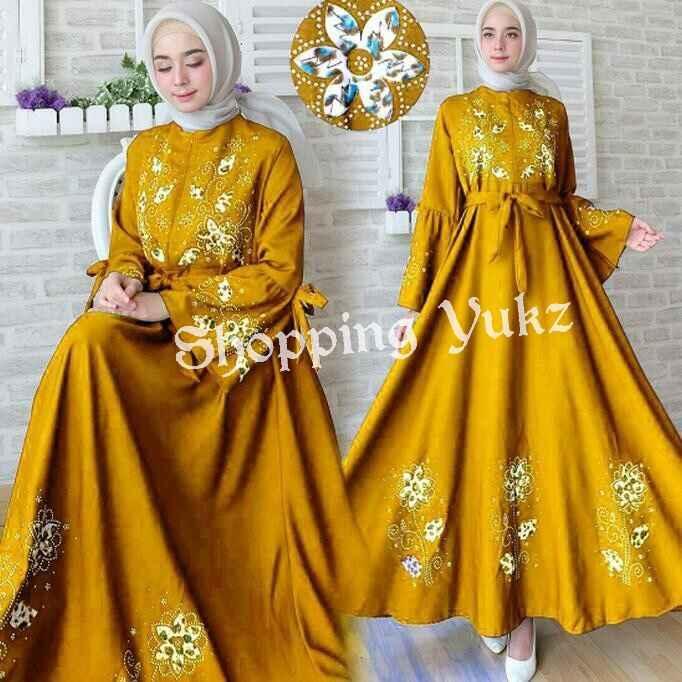 Shopping Yukz Baju Gamis Dress Muslim Syari Wanita MAXI FLOWER MUSTARD  ( Tanpa Jilbab ) / Hijab Muslimah / Baju Muslimah Wanita / Syari Syari'i Muslim / Gaun Muslim / Long Dress Muslimah Wanita
