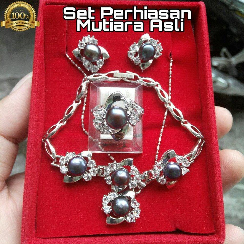 Promo Murah Set Perhiasan Mutiara Asli Air Tawar Hitam By Central Gemstone Shop.