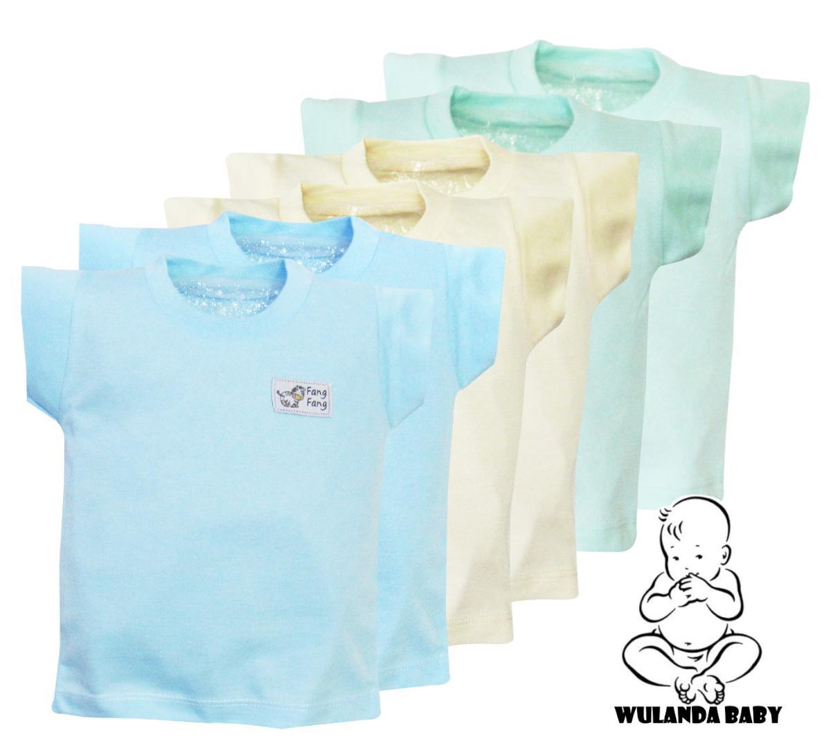 Wulanda 6 pcs baju kaus oblong anak bayi laki laki dan perempuan kaos warna polos fang