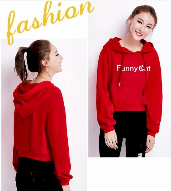 Barakah Jaket Wanita / Fashion Wanita / Hoodie Wanita / DELLA PRINT Sweater Crop Hoodie Fashion Basic Wanita