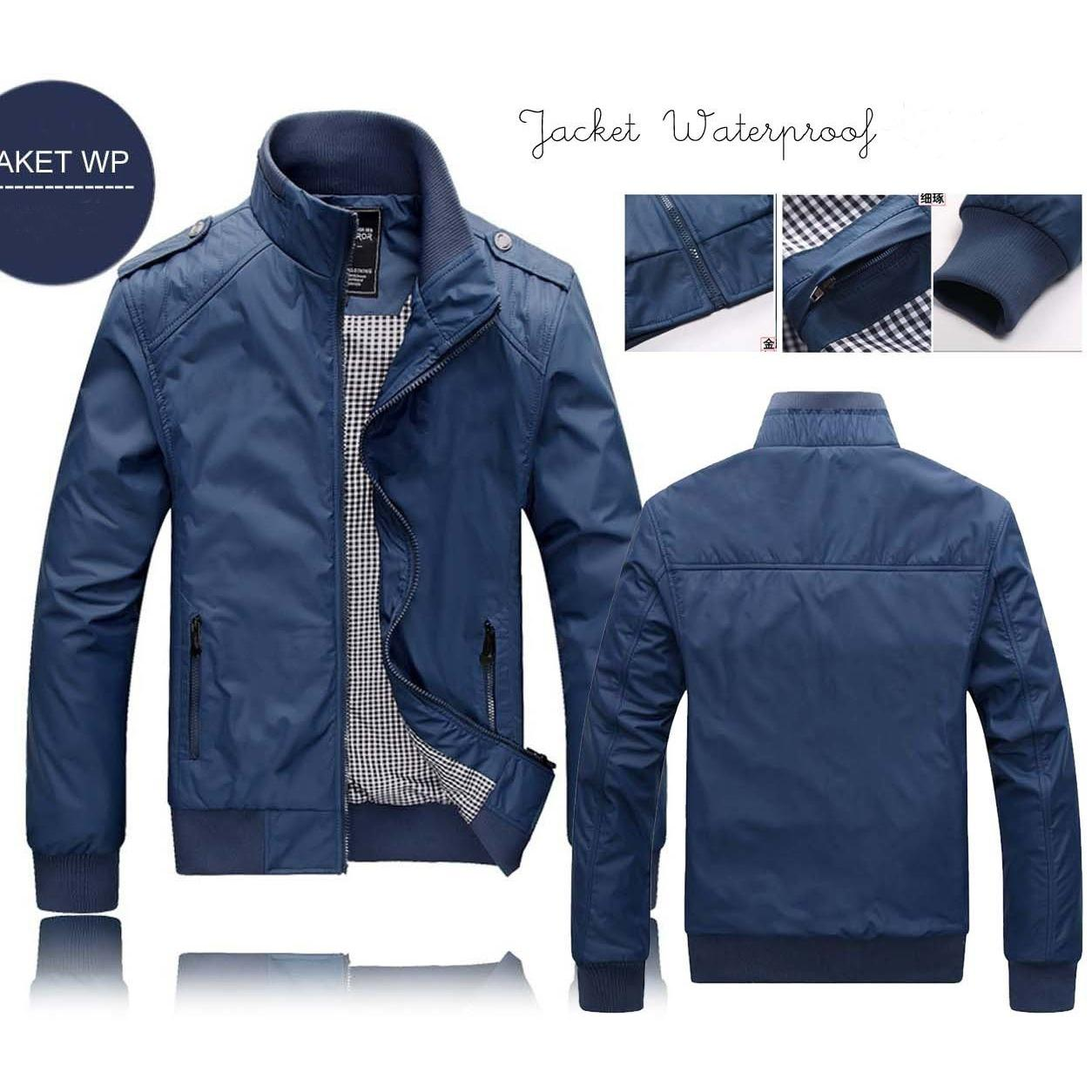Jaket Wp Biru Polos. Tersedia Semua Logo Club Bola. Jacket Soccer Waterproof Promo Jaket Distro Murah Bandung Jaket Tahan Air Keren Bagus