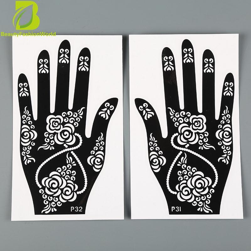 DIY India Mehndi Stensil Tato Sementara Template Chic Sticker Body Arts Intl