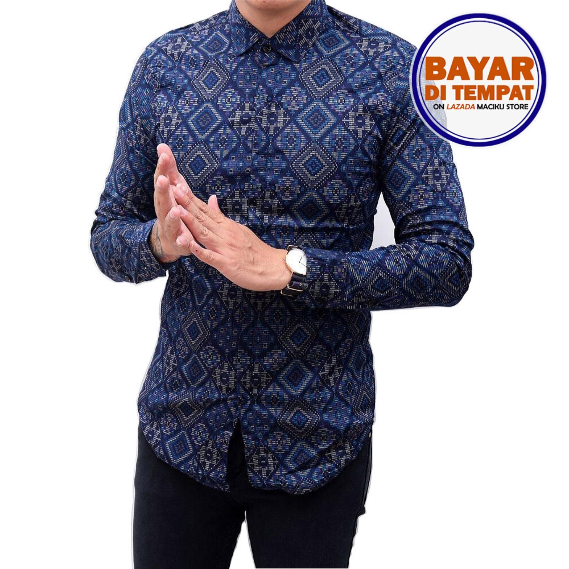 Maciku Kemeja Batik Songket Pria Panjang Kerja Kantor Slimfit / Baju Batik Navy