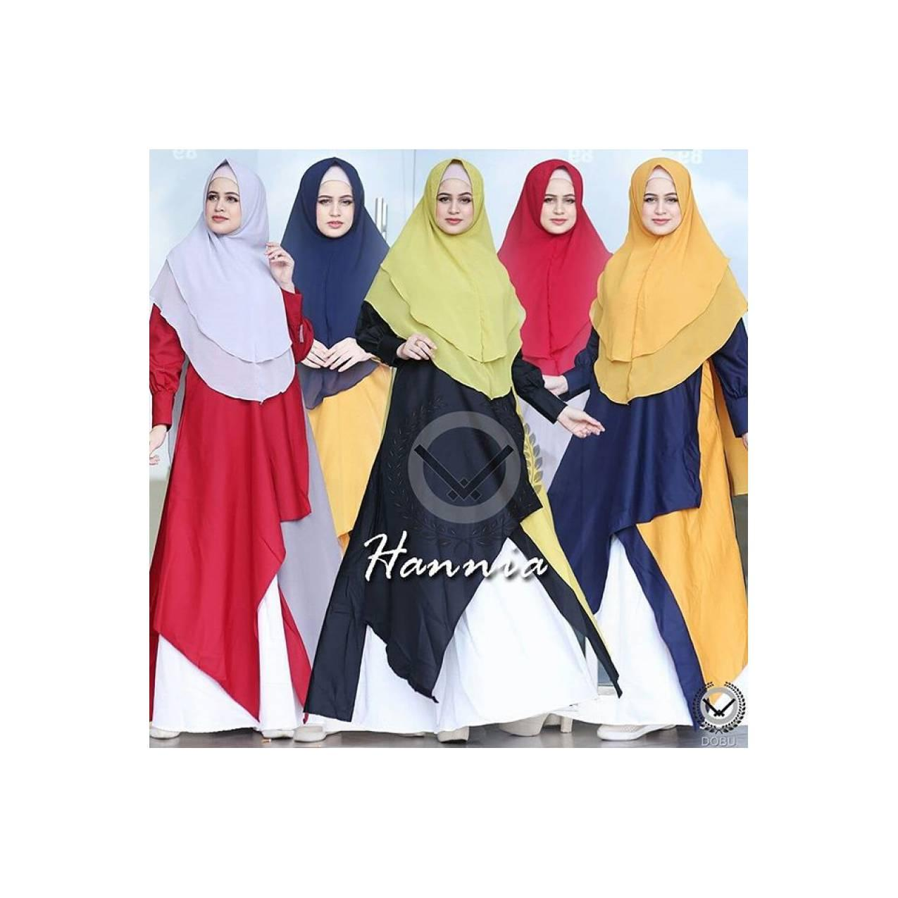 Gamis syari set khimar Hannia dress by dobu original/gamis branded