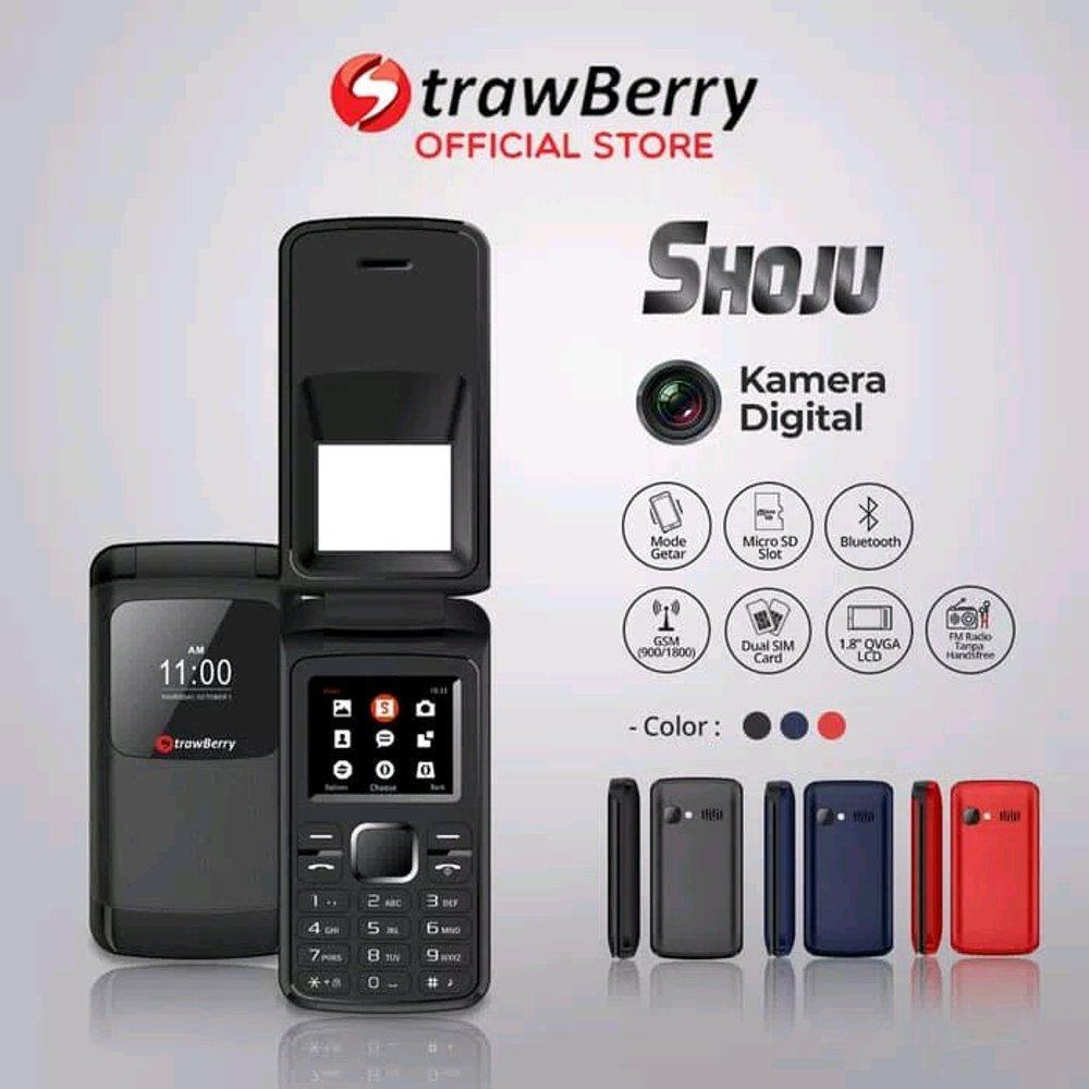 Strawberry SHOJU  / FLIP / Bluetooth - dual sim - Radio FM / Hp unik / desain unik / hp murah
