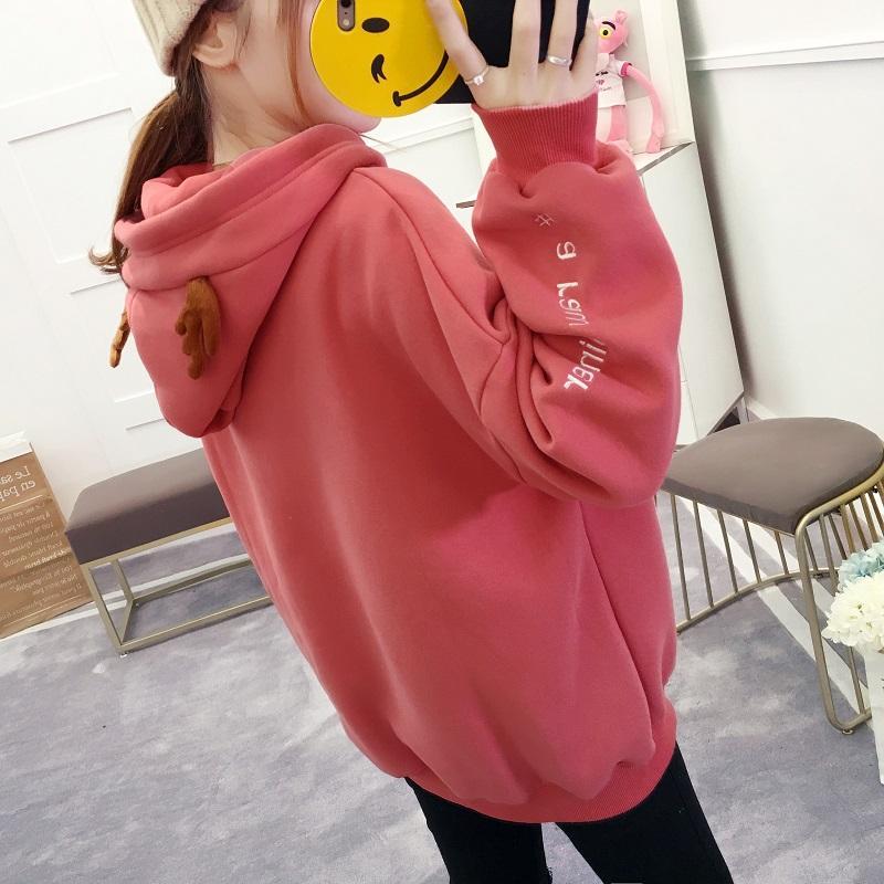 Adik Perempuan Gemuk Kaos Sweater Wanita Longgar Ukuran Besar Tambah Beludru Lemak Mm Model Baru 2017 Musim Gugur Musim Dingin Versi Santai Korea Terlihat Langsing Lebih Tebal Jaket