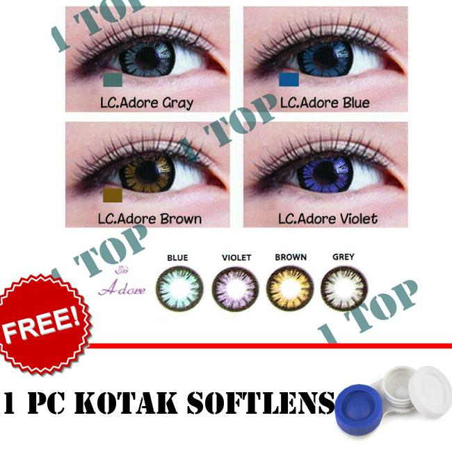 BEST SELLER Softlens Living Color Adore : Black, Blue, Brown, Grey, Violet  - Kualitas Bagus + FREE Lenscase