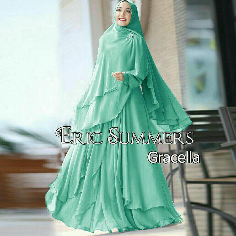 Baju Wanita Muslim Murah-dress gaun gamis syari ceruty polos-busui-size XL-gracella