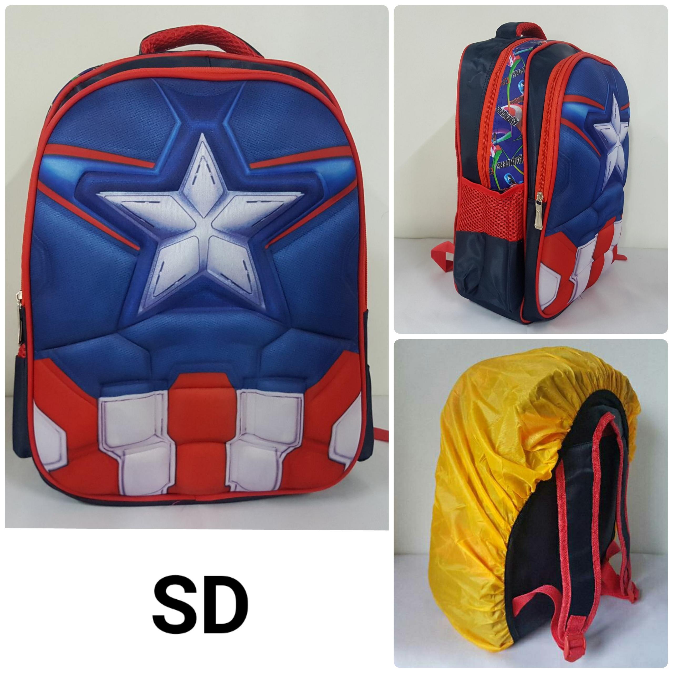 Ransel SD Captain America Otot Backpack Avengers Tas Sekolah Import 3D Timbul