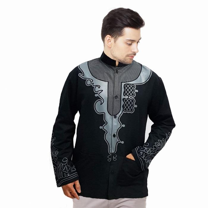 Baju Koko Black Panther Pria Motif PRINTING Tangan Panjang - Putih, XL fit to XXL