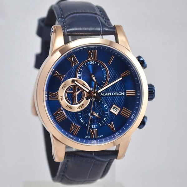 Alain Delon Jam Tangan Pria Alain Delon AD411-1581C Dual Time Rosegold Stainless Steel Leather Blue