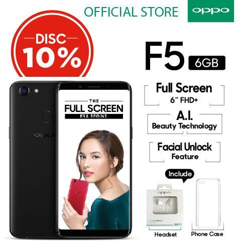 """OPPO F5 6GB/64GB Black – Smartphone Full Screen 6"""" FHD+ (Garansi Resmi Oppo Indonesia, Gratis Ongkir)"""