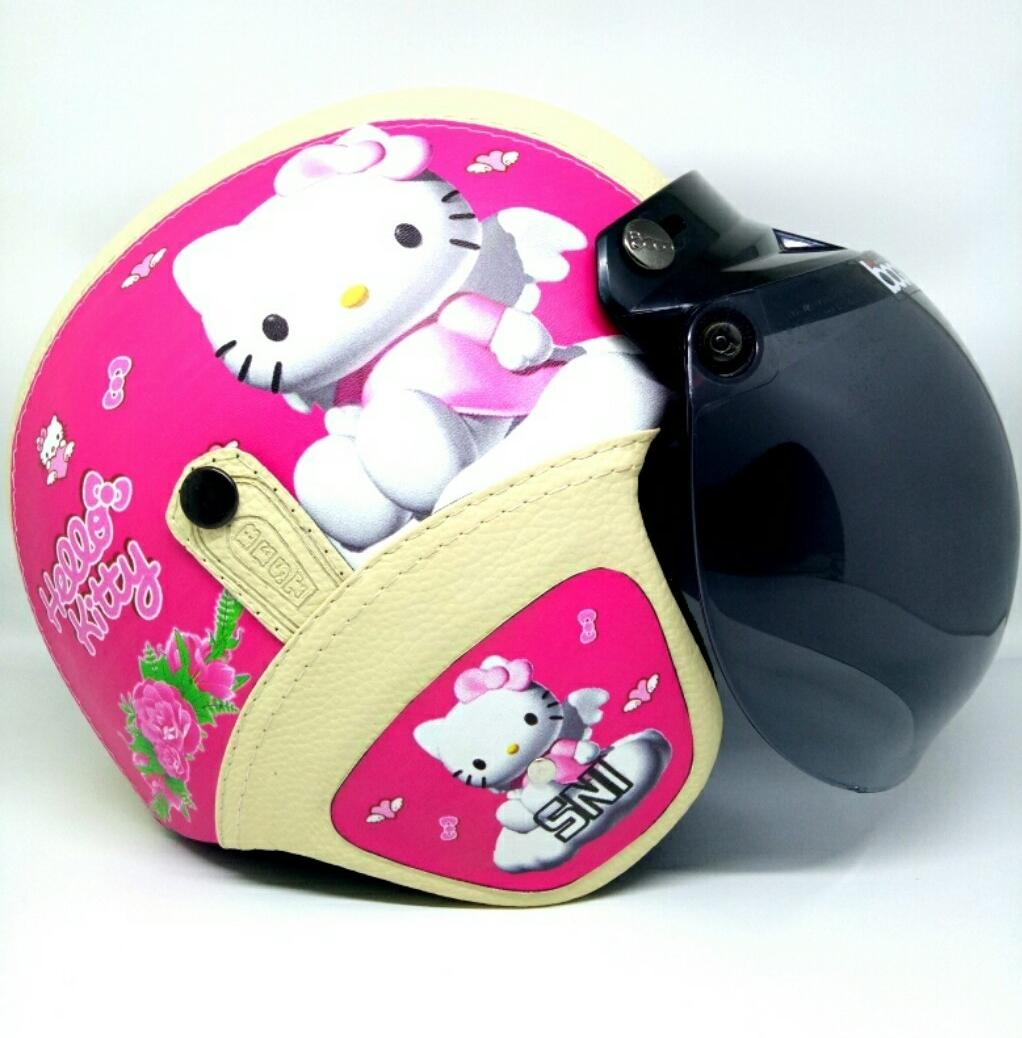 Moe Moe Helm Helm Bogo Retro Kulit Klasik SNI Motif Hello Kitty Pink Crem Kaca Bogo Ori