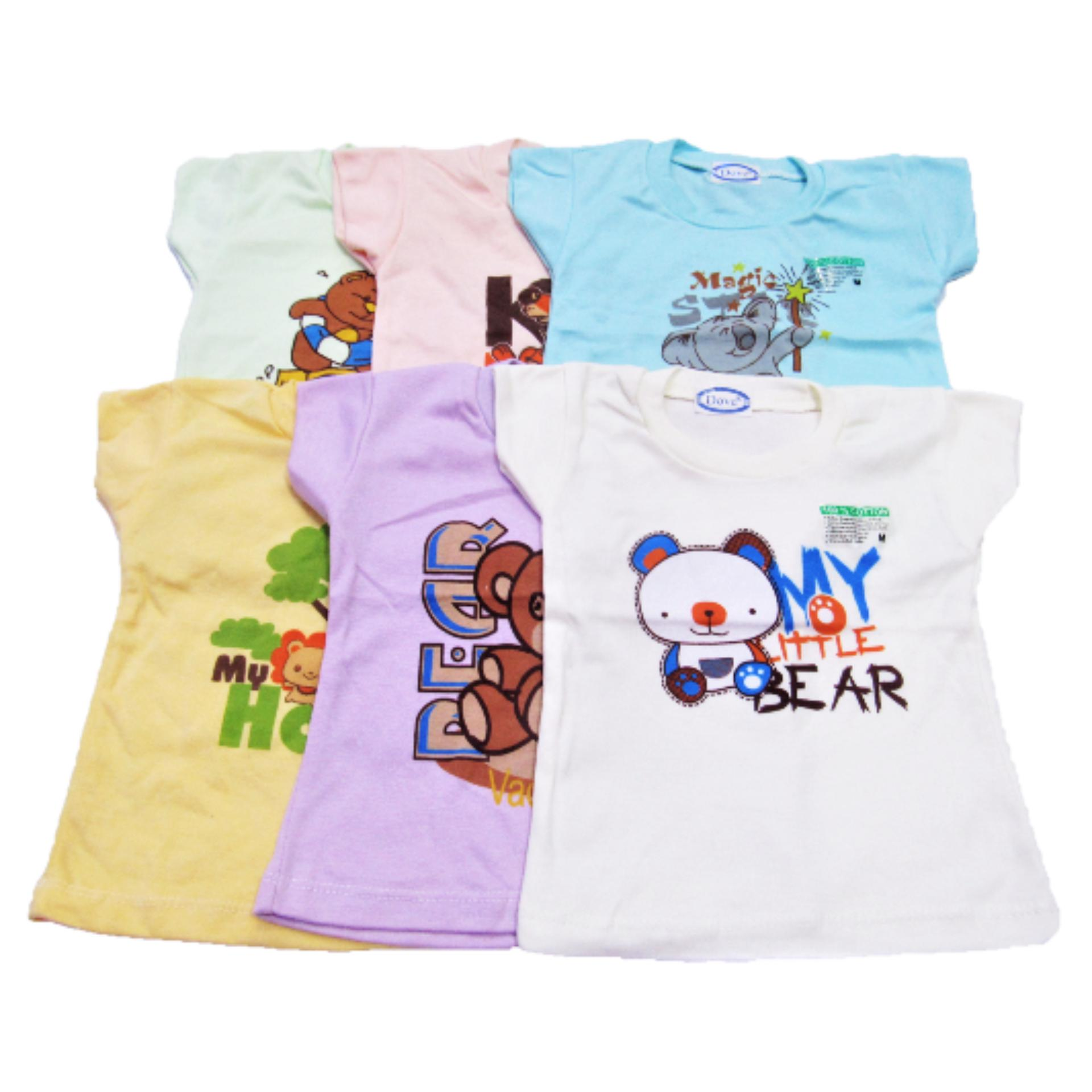 Wulanda 6 pcs baju kaos oblong anak bayi warna dan motif yang berbeda