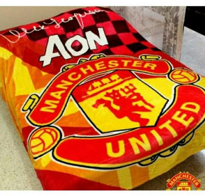 Selimut Motif Bola Manchester United 3D Kualitas Import ukr 150x200