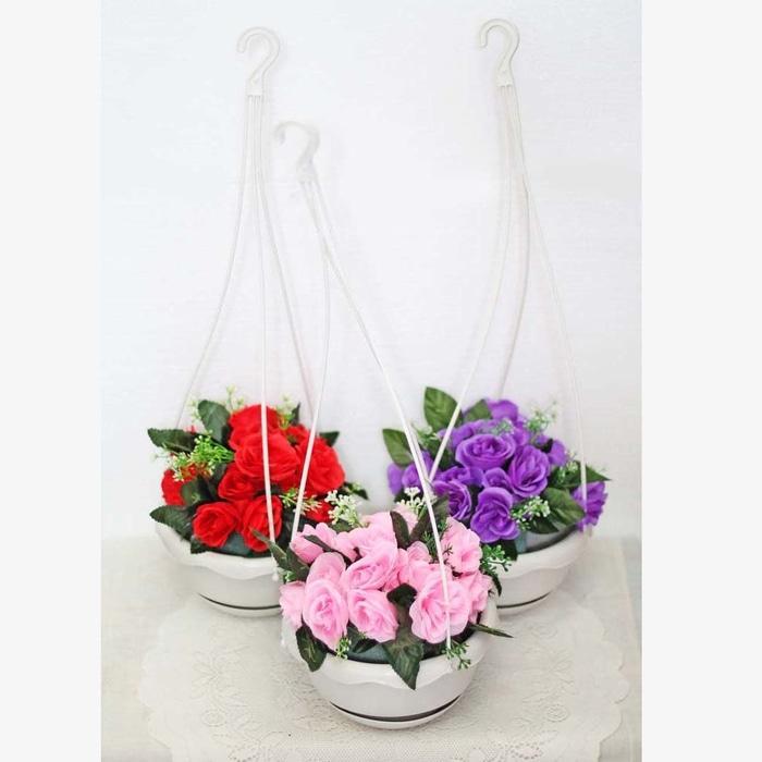 1 SET ISI 3 bunga plastik hias artifisial mawar + pot gantung shabby 3 - c1SK6W