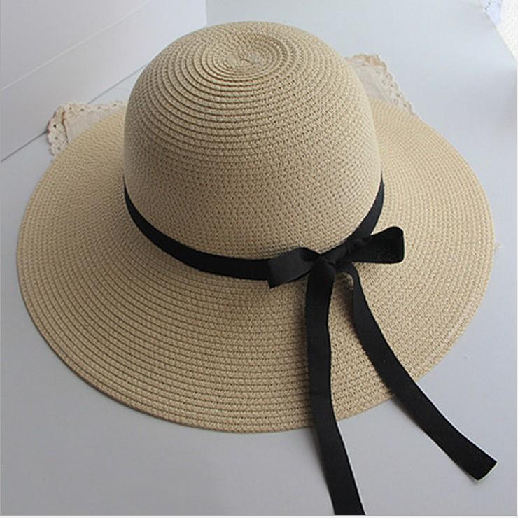 Topi Pelindung Sinar Matahari Matahari Panas Musim Wanita Besar Topi Lebar Pantai Jerami (Warna Beras)