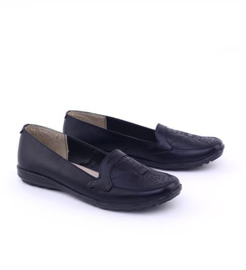 Sepatu Kerja Wanita Formal KULIT GR-36 HITAM Flat Shoes Pantofel Cewek - Sepatu Pantofel