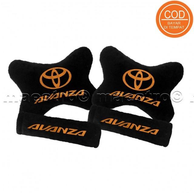 Aksesoris bantal leher jok mobil lucu unik Set 2in1 Toyota Avanza