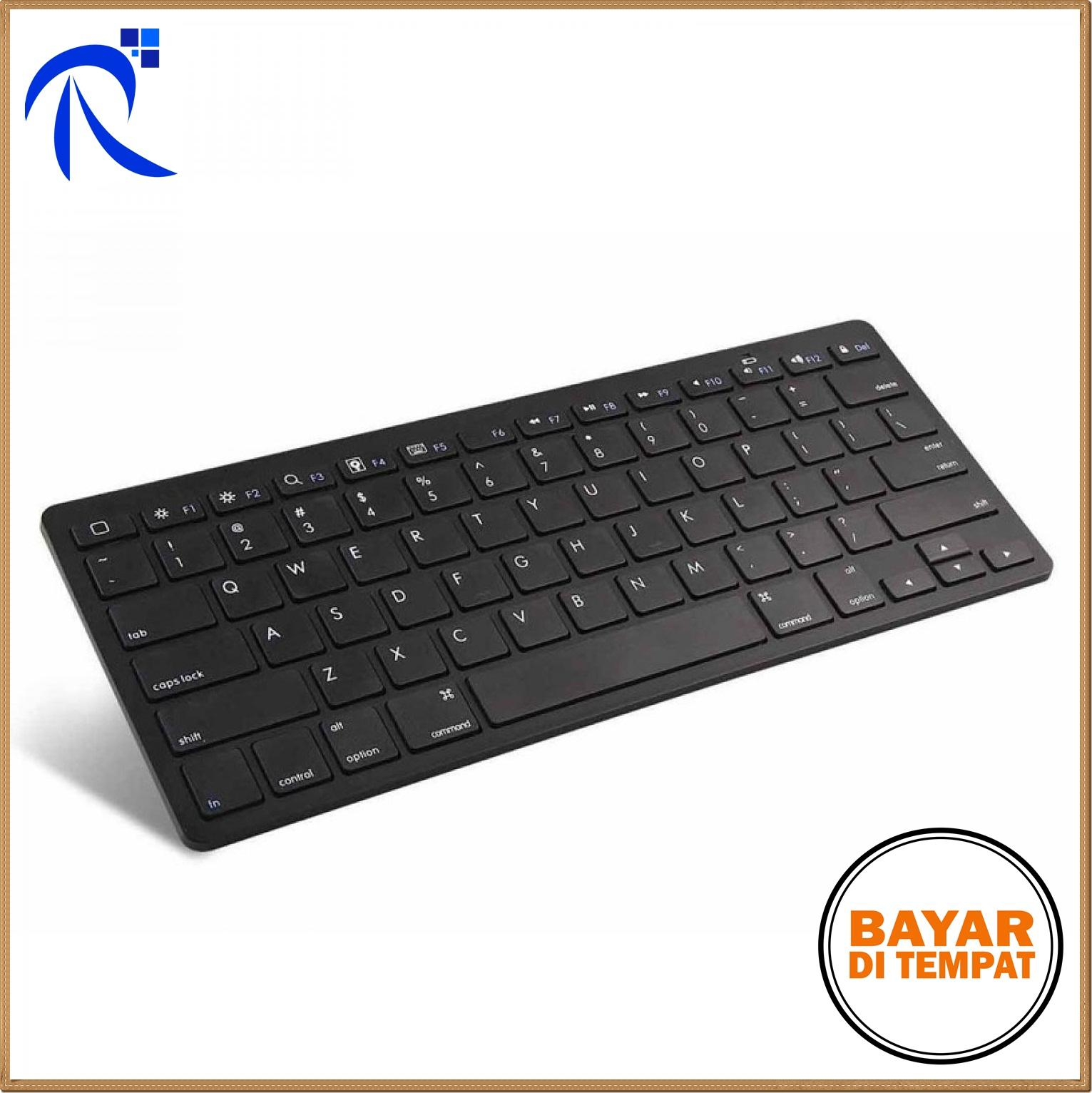 Rimas Ultra Slim Bluetooth Keyboard iOS Android PC - Hitam / Black - Desain Tipis Modern Koneksi Bluetooth Berbagai Gadget Teknologi Switch Scissors Mengetik Lebih Nyaman Akurat Tahan Lama Baterai AAA BISA COD !!