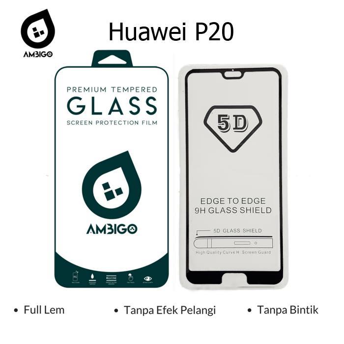 Ambigo 5D Tempered Glass Screen Protector Huawei P20 Pro Full Cover Glue - Black