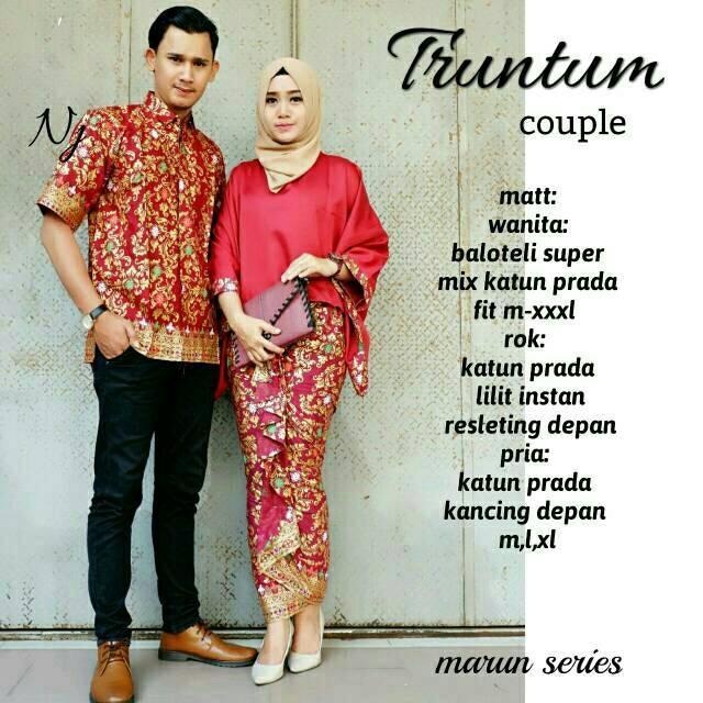 Batik Modern - Baju Muslim Wanita Terbaru 2018 - Kebaya Couple Modern – Couple Batik – Batik  Sarimbit -  Batik Kondangan  -  Baju  Batik Couple Truntum