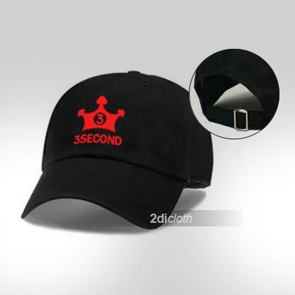 Topi baseball 3second red logo premium black