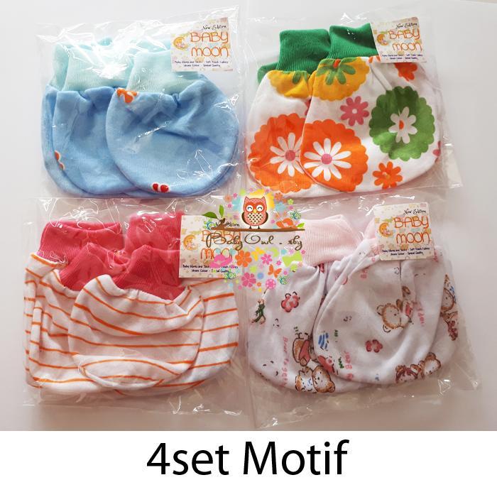 4set sarung tangan dan kaos kaki bayi motif 4