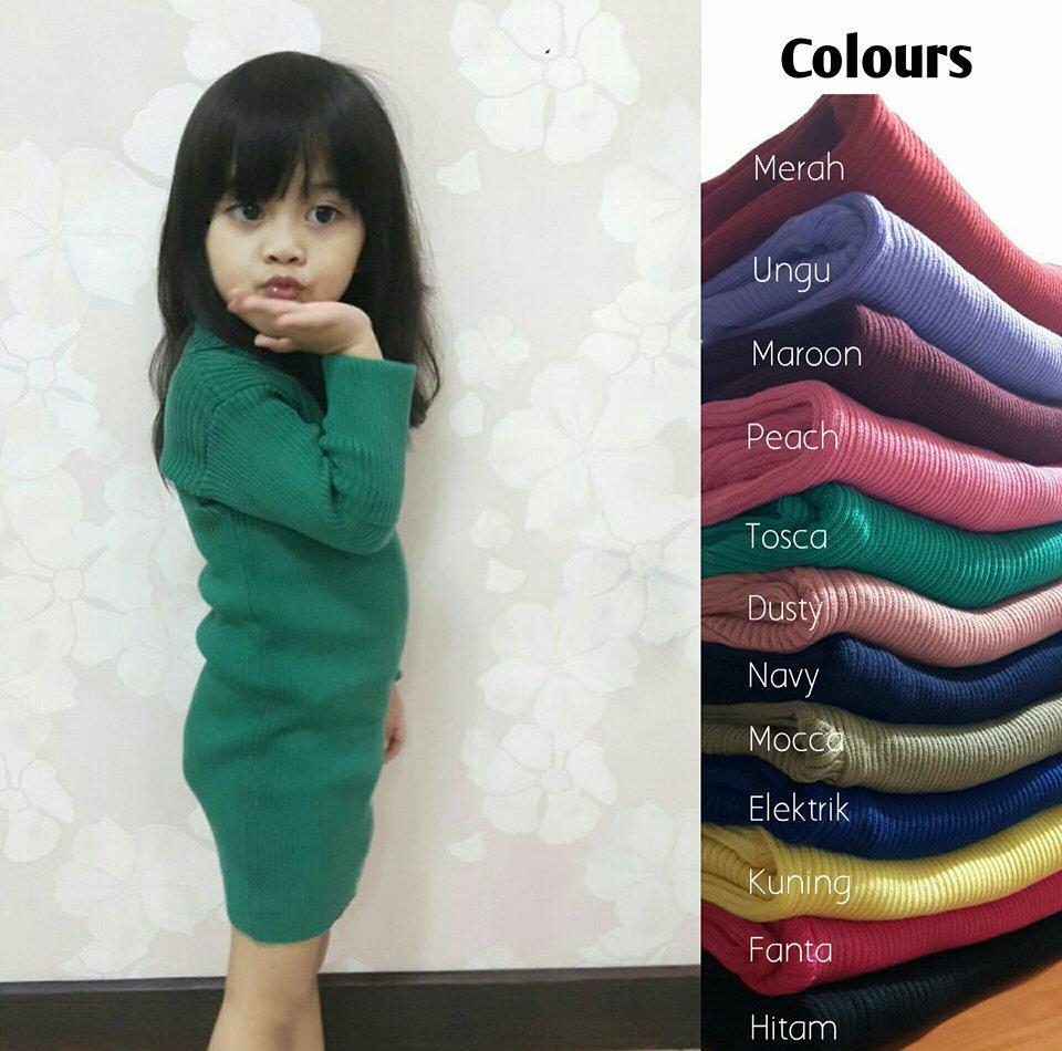 Adila Dress Baju Rajut Anak anak dress murah atasan panjang wanita pakaian Anak perempuan 2 -