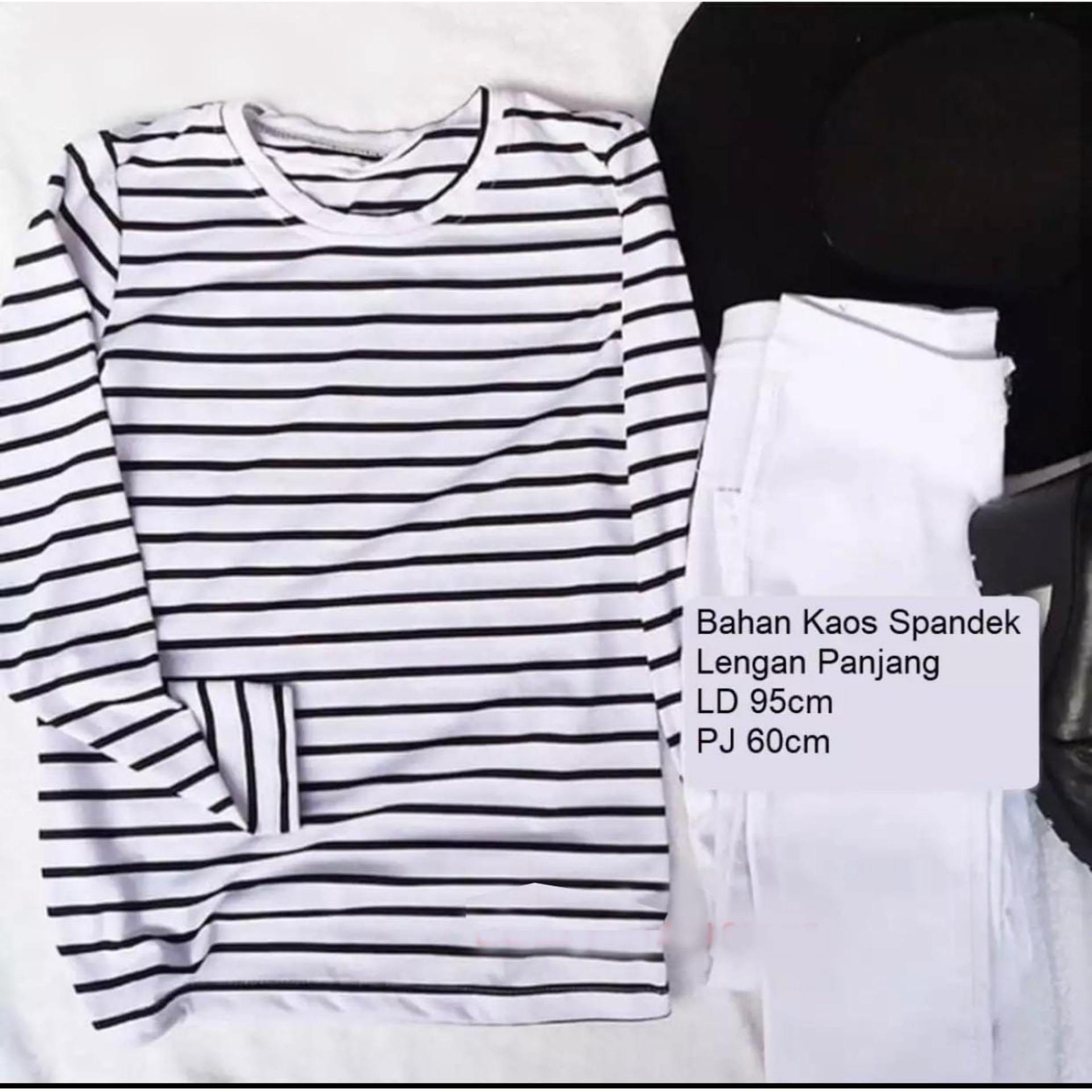 Blouse Tunik Wanita Setelan Baju Dan Celana Kucing Berkumis Original Kaos Lengan Panjang Garis Hitam Putih Atasan