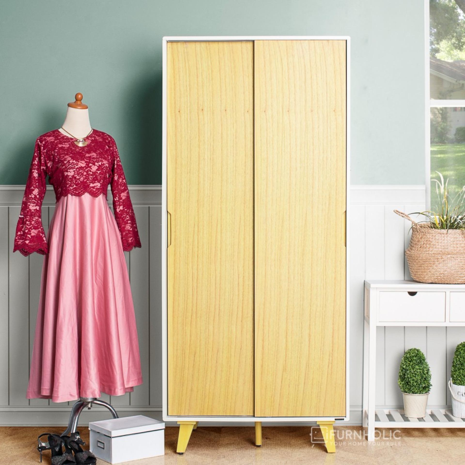 iFurnholic Helsinki Wardrobe Sliding Door - Lemari Pakaian - Nature - Gratis Pengiriman Pulau Jawa dan Denpasar
