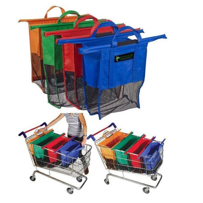 Keranjang Tas Belanja Supermarket Trolley Organizer Shopping Bag 4 Pcs