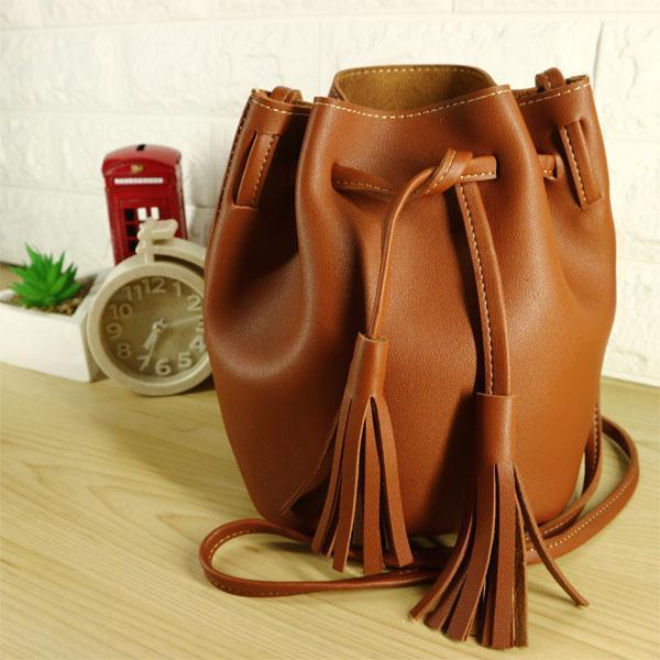 Tas Wanita/ Dompet Wanita/ Dompet Mini/ Dompet Fashion/Tas Selempang/ Tas Bahu Wanita/ Bucket Bag/ Tas serut miniso - Brown
